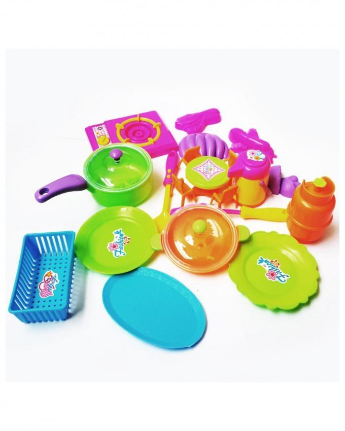 Mini Kitchen Set Toy For Kids - 16 Pcs - Multicolor