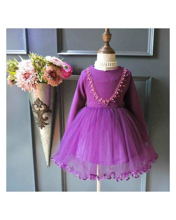 Purple Cotton Frock For Girls