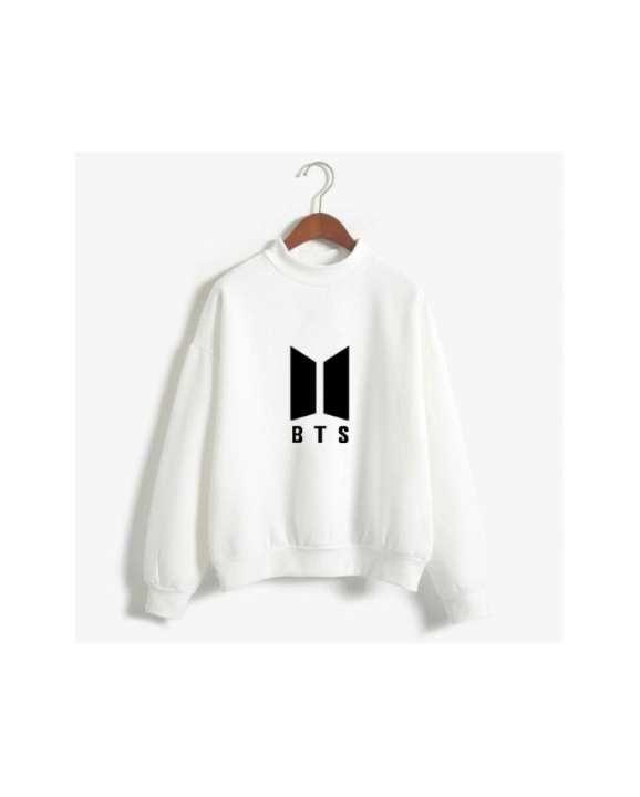 White Fleece Bts Sweatshirt For Women