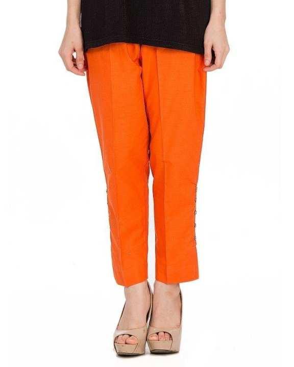 Orange Cotton Cigarette Pants For Women
