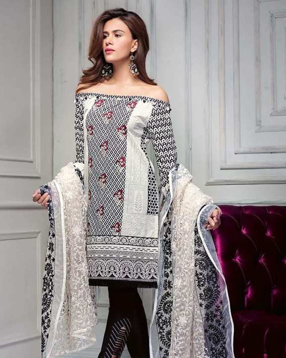 Gul Ahmed - Light Grey Premium with Embroidered Front 3PC-Unstitched -  PM-215-158407