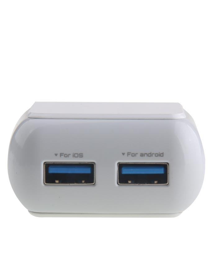 Dual Port USB Charger - White