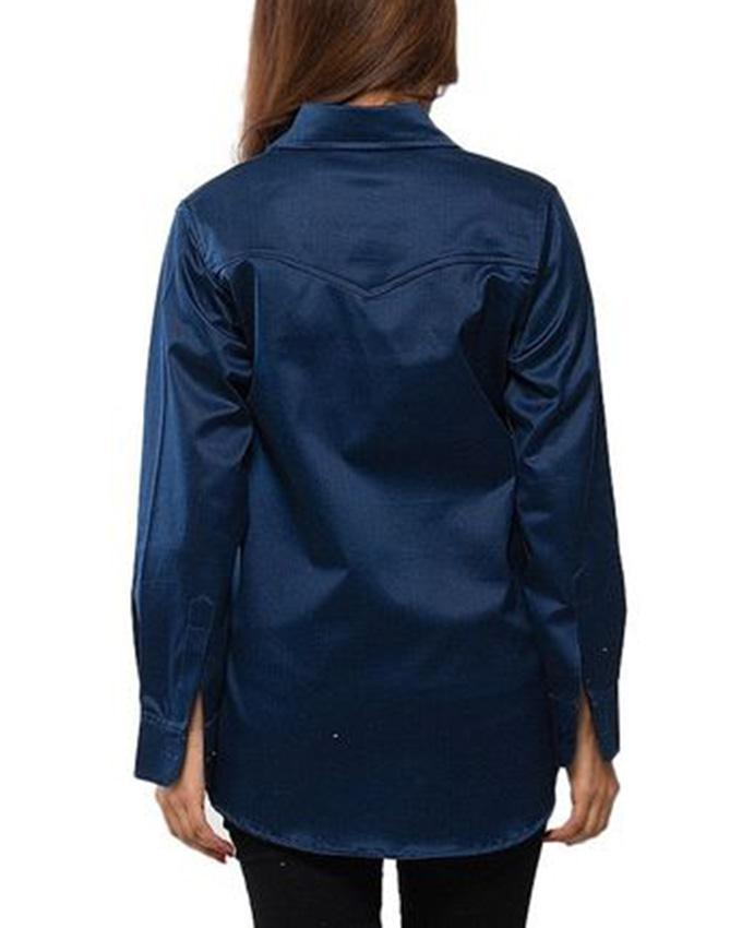 Dark Blue Cotton Denim Shirt for Women