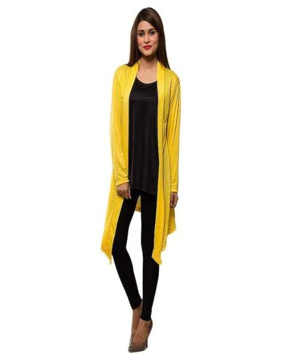 Yellow Viscose Shrug For Women