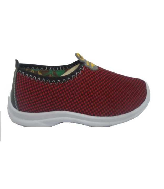 Maroon &  Black Wool Moccasin Shoes For Women 264-50234