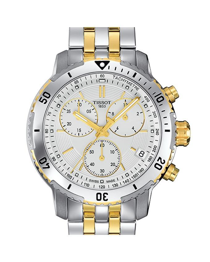 Silver & Golden Chronograph Stainless Steel Quartz Watch For Men