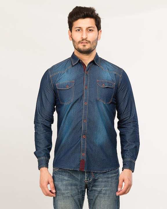 Blue Men's Long Sleeve denim shirt