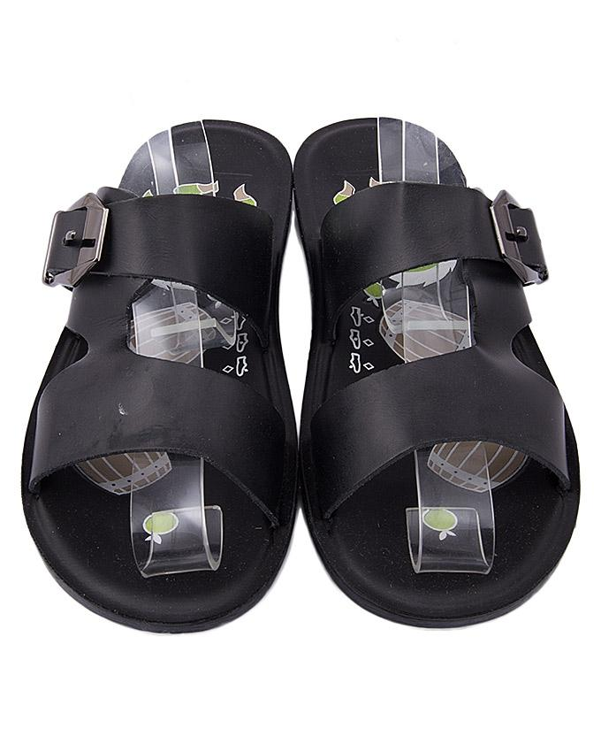 Black Synthetic Leather Slipper For Boys