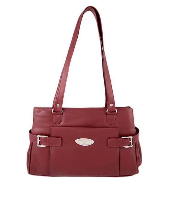 Maroon Leather Hand Bag For Women