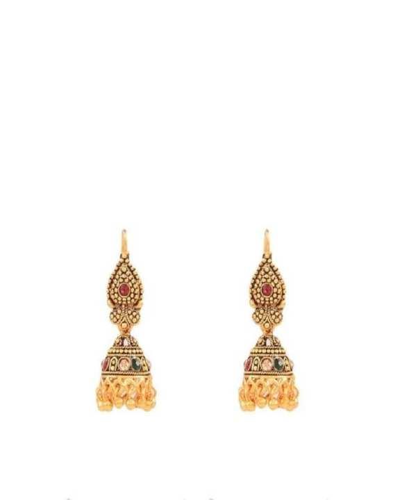 Multi-Stone Jhumki For Women - Golden