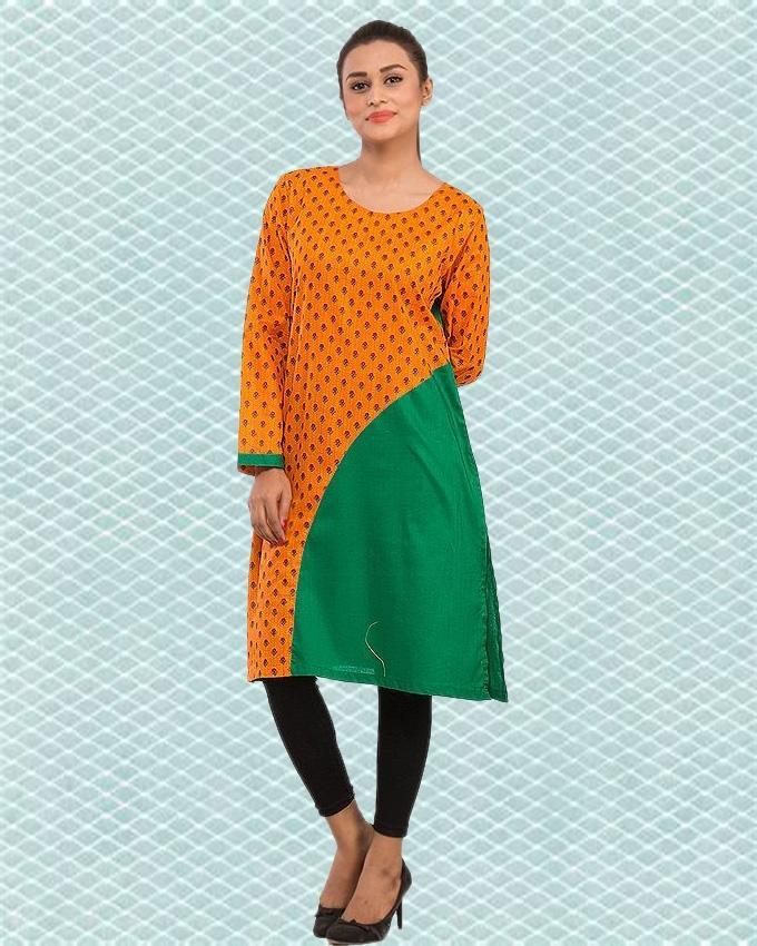 Women Kurta with Solid/Printed Fabric Combination