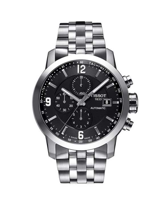 Tissot T055.427.11.057.00 - Automatic Chronograph Watch for Men - Black & Silver