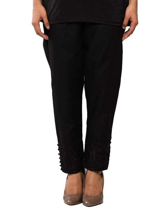 Black Cotton Embroidered Cigarette Pant for Women