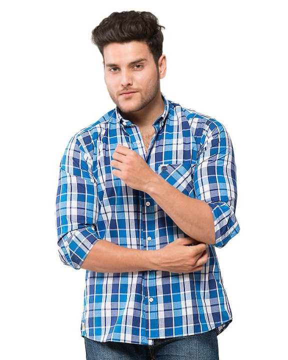 Blue Cotton Checked Shirt for Men - EPS08