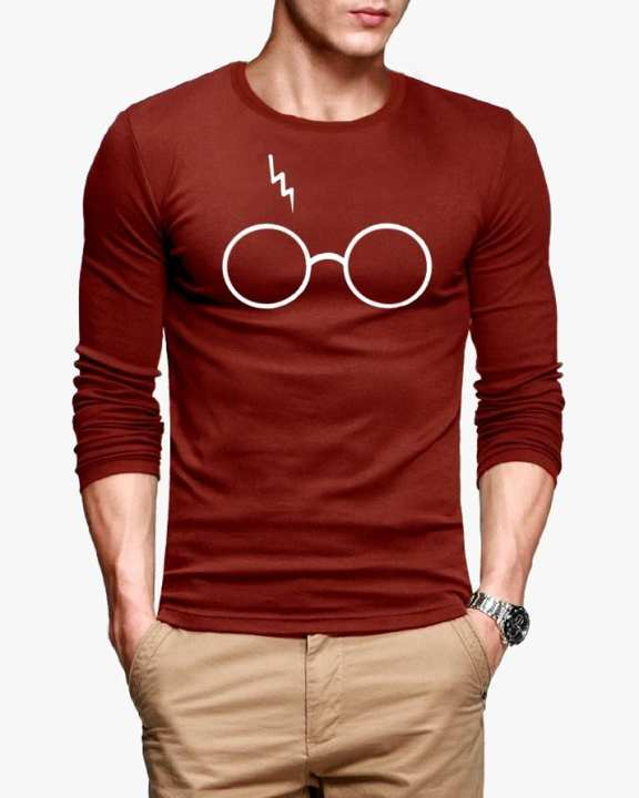 Casual Glasses Printed Full Sleeve Red Cotton T-Shirt