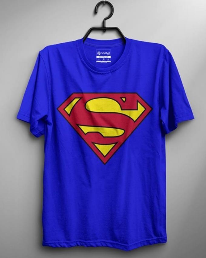 Superman Digital Printed Round Neck Men T-shirt - Royal Blue