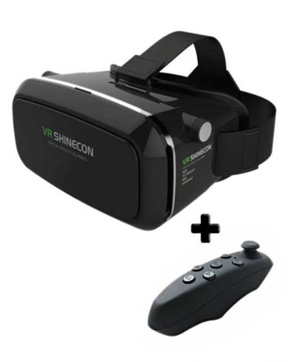 Virtual Reality 3D Glasses With Gaming Remote -  Black