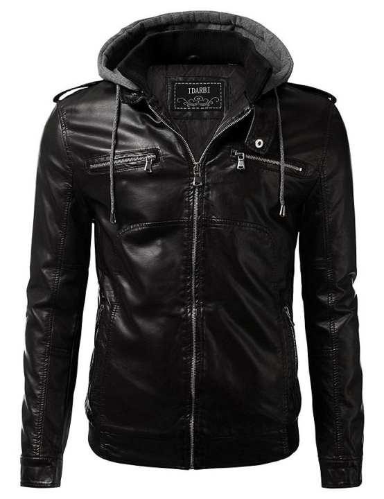 Black Men Slim Fit Pu Leather Jacket - Ger-H9