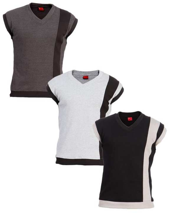 Pack of 3 - Multicolour Ribbed Cotton Sleeveless Sweater for Men