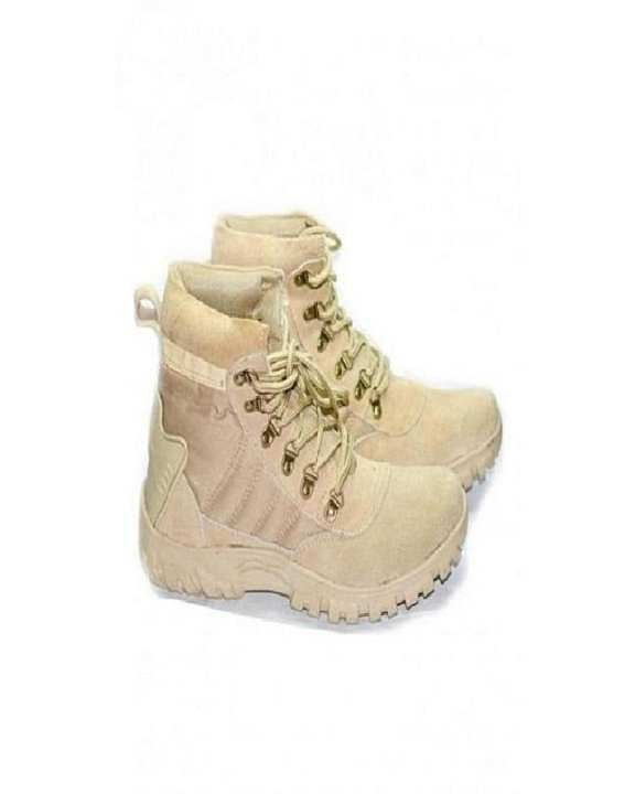 Beige Suede Leather Army Boots for Men
