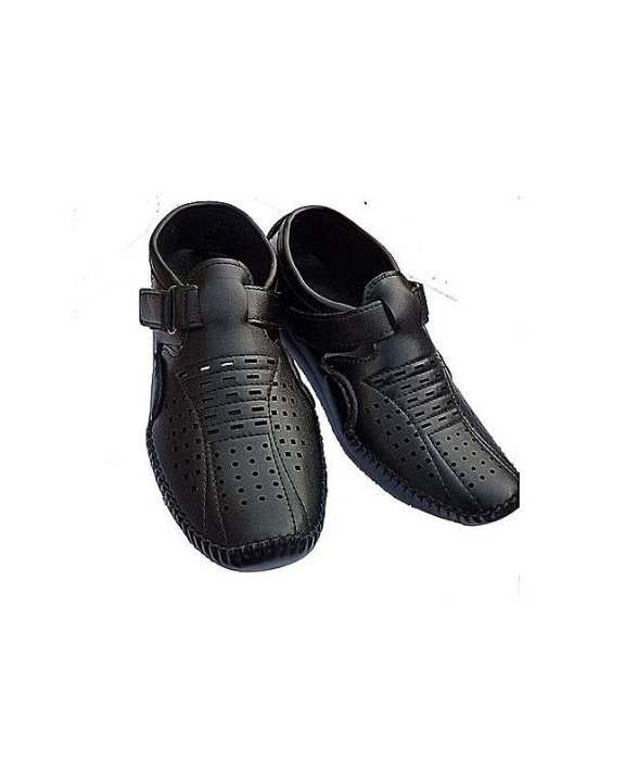 Black Synthetic Leather Sandals For Men