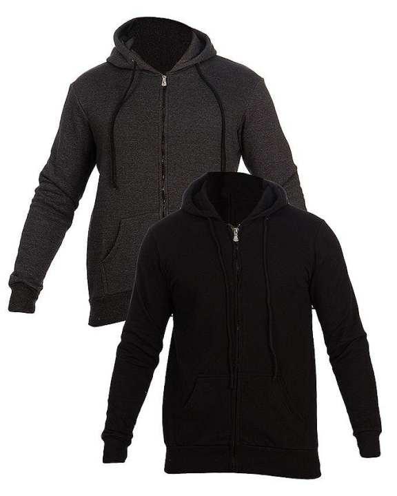 Black & Charcoal Grey Fleece Zip up Hoodie For Men