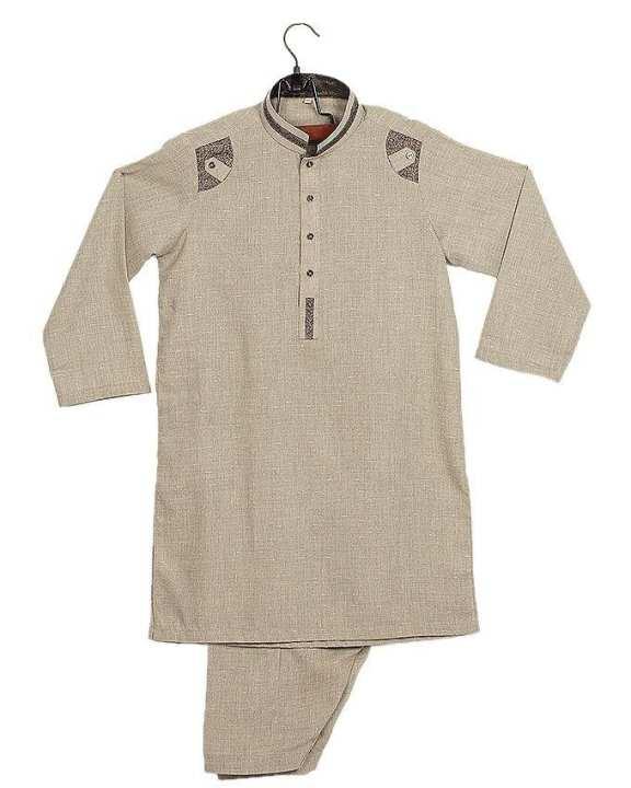 Light Grey Cotton Shalwar Kurta For Boys