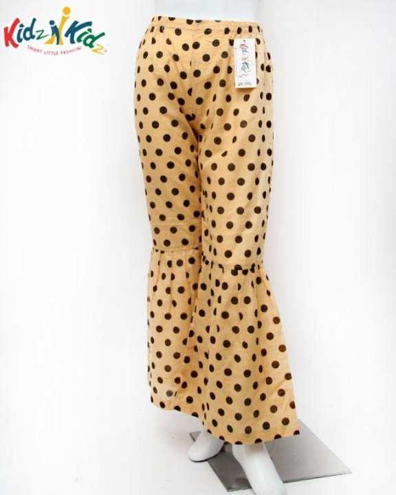 Skin Polka Dot Plain Khaddar Pajama For Girls