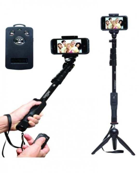 Combo of 2 - Original YT-1288 Bluetooth Selfie Stick 4 Feet and YT-228 Mini Tripod - Black