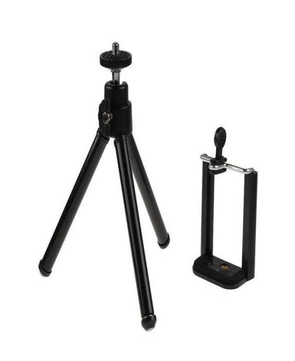 D Marts Mini Tripod with Mobile Phone Holder - Black