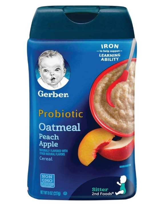 Gerber Probiotic Oatmeal & Peach Apple Baby Cereal 227g