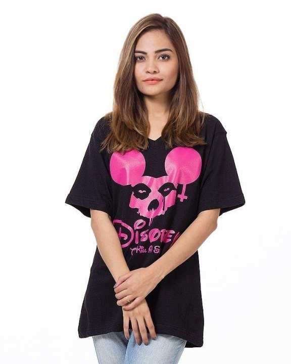 Black Cotton Stylish Half Sleeves V-Neck Printed T-Shirt For Girls/Women
