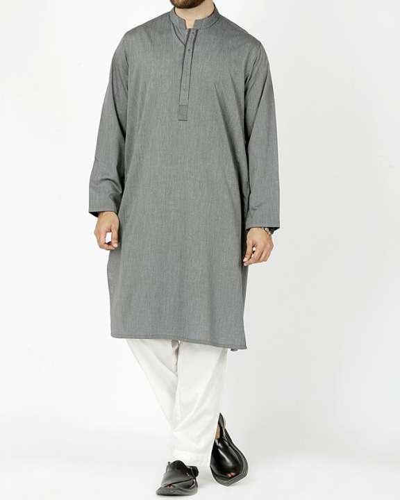 Grey Polyester & Viscose Regular Kurta-Fit
