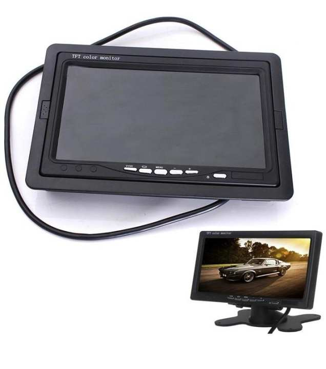 Lcd Color Screen For Cctv & Car Camera - 7 Inch - Black