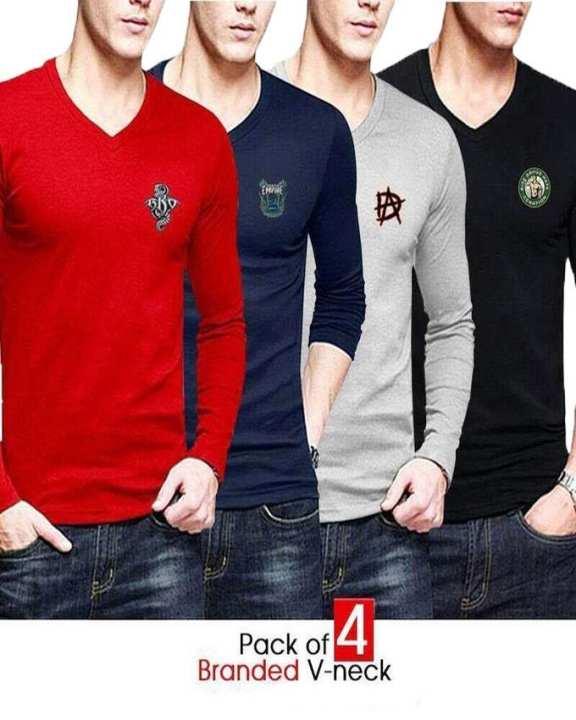 Pack Of 4 V Neck T Shirts For Men With Front Logo