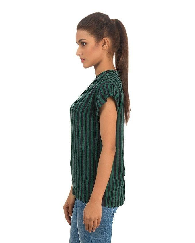 Green and Blue Linen Striped Shirt with Short Sleeves for Women