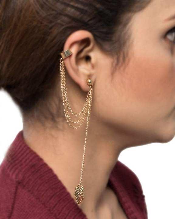 Golden Alloy Leaf Earrings for Women