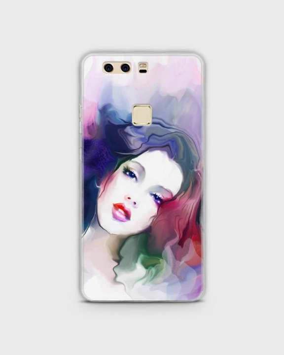 Cover For Huawei P9 Hybrid Soft Girl Face Print -1cover2817