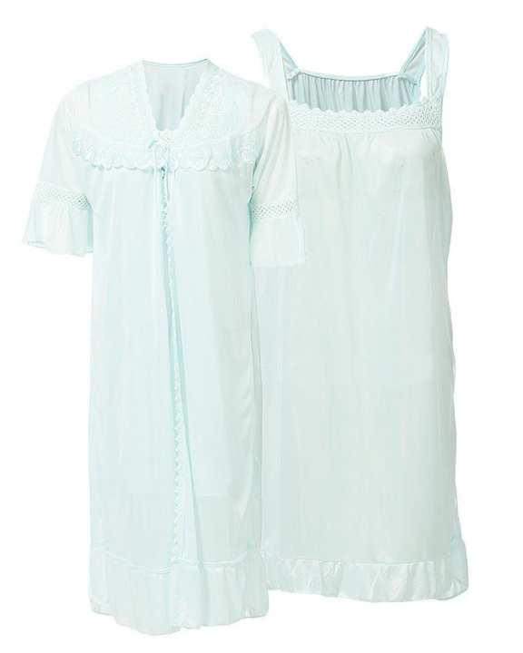 Blue Nylon & Net Blossom Nightwear For Women