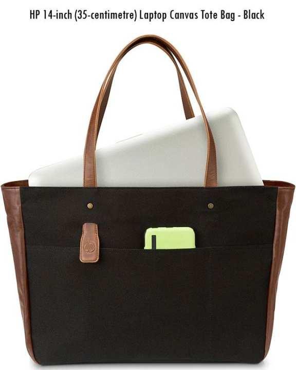 100% Original Hp 14-Inch (35- Centimeter ) Laptop Canvas Tote Bag - Black