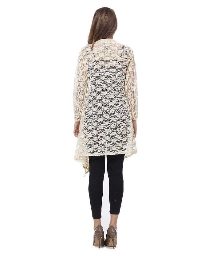 White Cotton & Net Shrug For Women