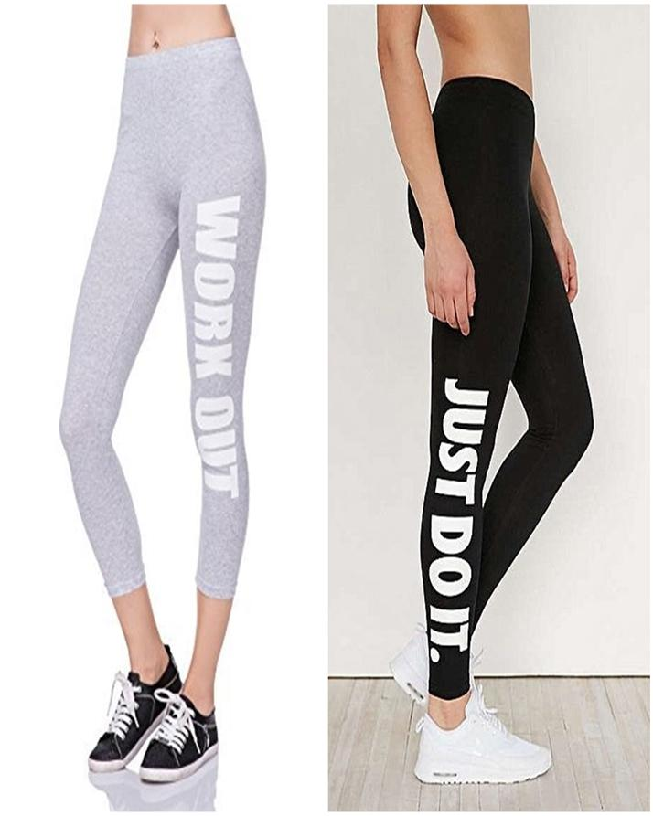 Pack of 2 - Grey & Black Printed Gym Tights For Her