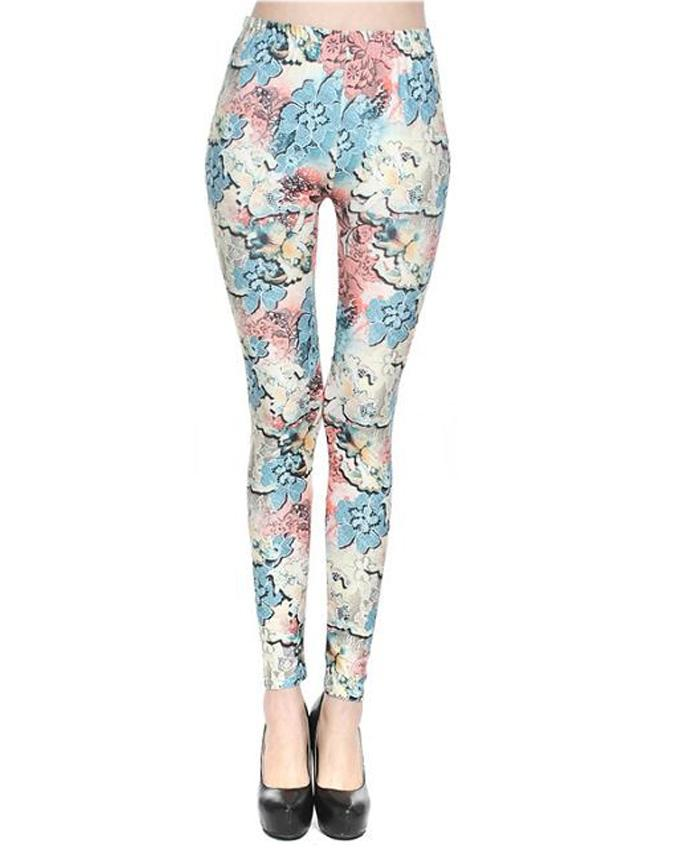 Multicolor Cotton Printed Tights For Women