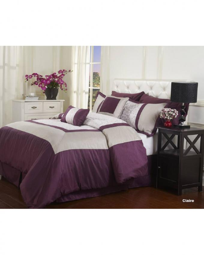 Purple King Size Jacquard Comforter Set - 9 pcs