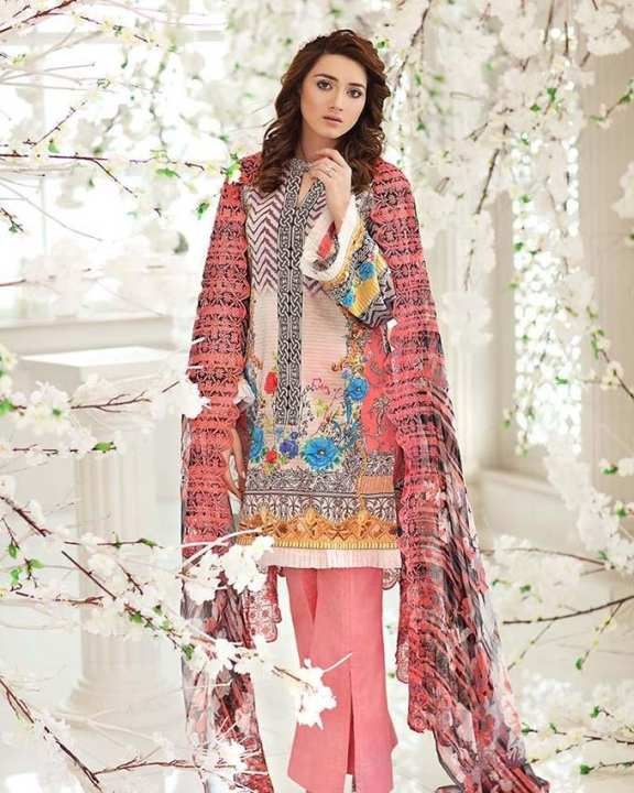 Gul Ahmed - Multi Chantilly with Digital Printed Shirt 3PC-Unstitched -  CT-233-158467