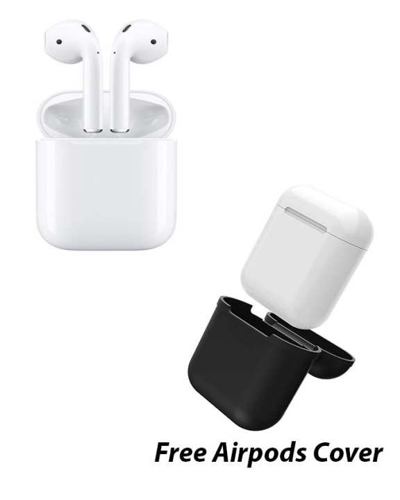 Original Apple AirPods Wireless Bluetooth Headset White With Free Airpods Silicone Case/ Cover Black