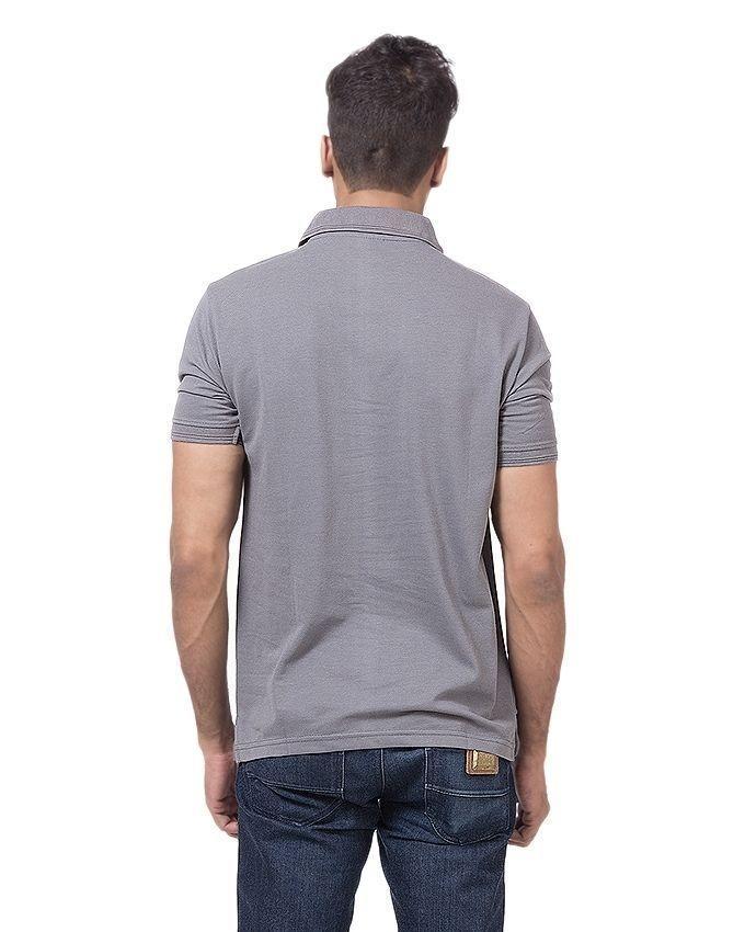 Steel Grey Polycotton Polo Shirt For Men
