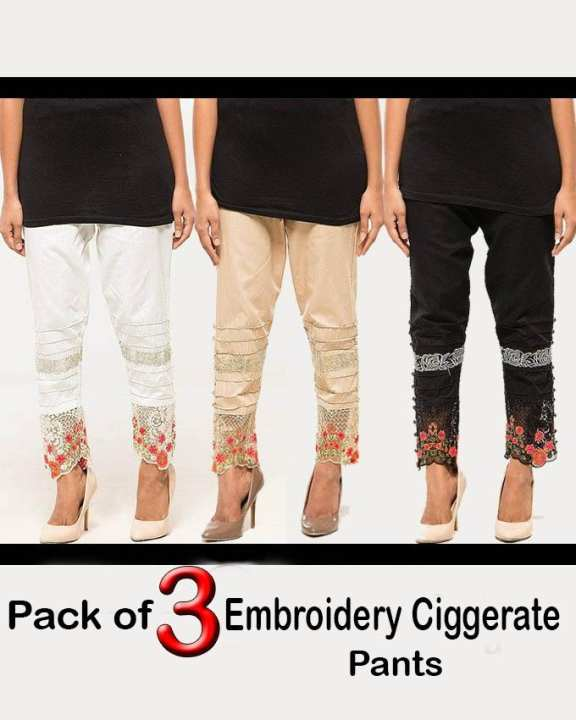 Pack of 3 Embroidery Ciggerate Pants for women