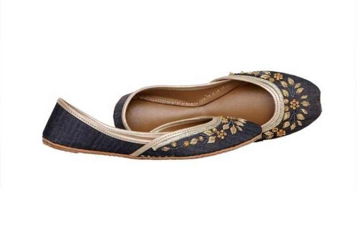 Blue Leather Khussa For Women