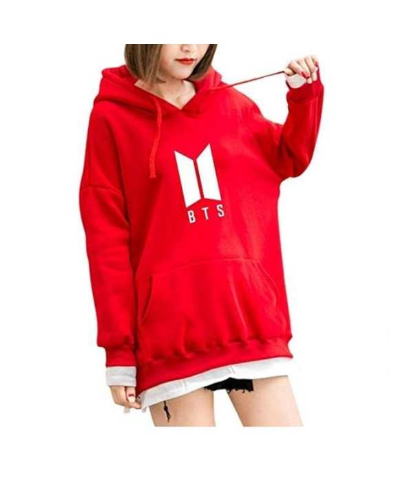 Red Fleece Bts Hoodies For Women